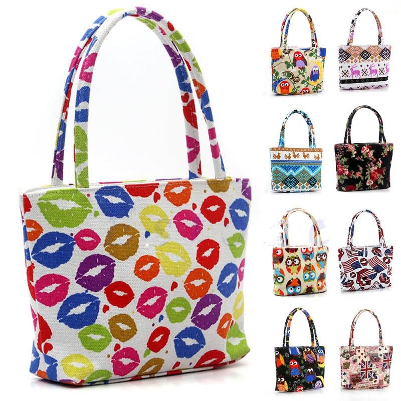 ФОТО 9x Canvas Handbag Women Single Shoulder Handbag Canvas Beach Bag Printed Bags