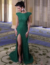 2016 Cheap long green sequin dress cap sleeves Prom Dresses prom dresses sparkly high slit Evening Gowns vestido de fiesta