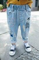 2017 W Nowym Stylu Dzieci Dżinsy Chłopcy Dziewczęta Spodnie Moda Jesień Projektant Dzieci Denim Spodnie Na Co Dzień Dżinsy Zgrywanie Dla 2 ~ 6 Lat