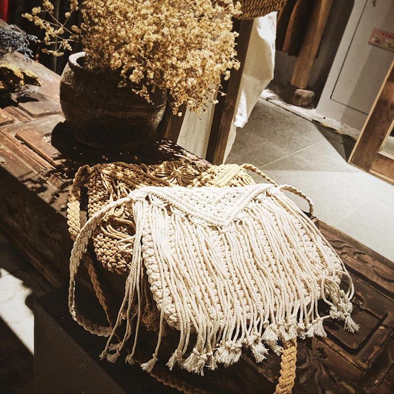 Rattan Handmade Woven Rodada Bolsa de Palha