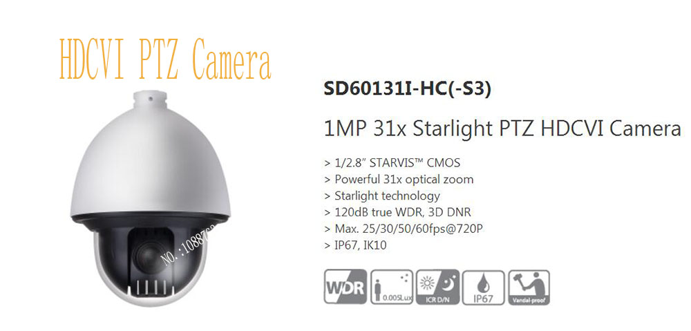 Dahua Original Security CCTV English Version CMOS 1M 31x Starlight PTZ HDCVI Camera Speed Dome Without LOGO SD60131I HC