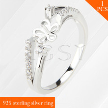 LGSY multiple size 6/7/8 ring fitting 925 sterling silver ring accessory jewelry with Split design pearl bar
