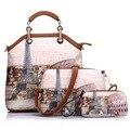 De alta Calidad de La Manera Retra Impreso Totes Casual Estilo de Inglaterra de Cuero de LA PU Bolso Para Mujer Bolsas de Mensajero Composite 3 sets Bolsas