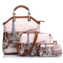 Hohe Qualität Mode Retro Gedruckt Pu-leder Totes Casual England Stil Handtasche Frauen Composite-umhängetasche Taschen 3 sätze Taschen