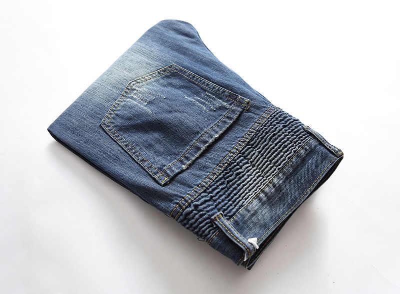 Высокая уличная мода мужские джинсы Синие рваные джинсы Плюс Размер 28-42 Balplein Брендовые мужские джинсы моторный байкер джинсы Homme