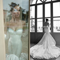 Custom Made Long Train Mermaid Wedding Dresses Pretty Pleat Satin Crystal Wedding Dresses