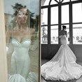 Por Encargo del Tren Largo de La Sirena Vestidos de Novia Pretty Plisado de Raso Vestidos de Novia de Cristal