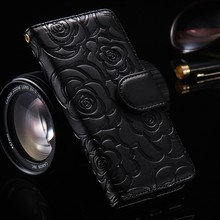 3d Camellia Flower wallet card Leather phone Case For