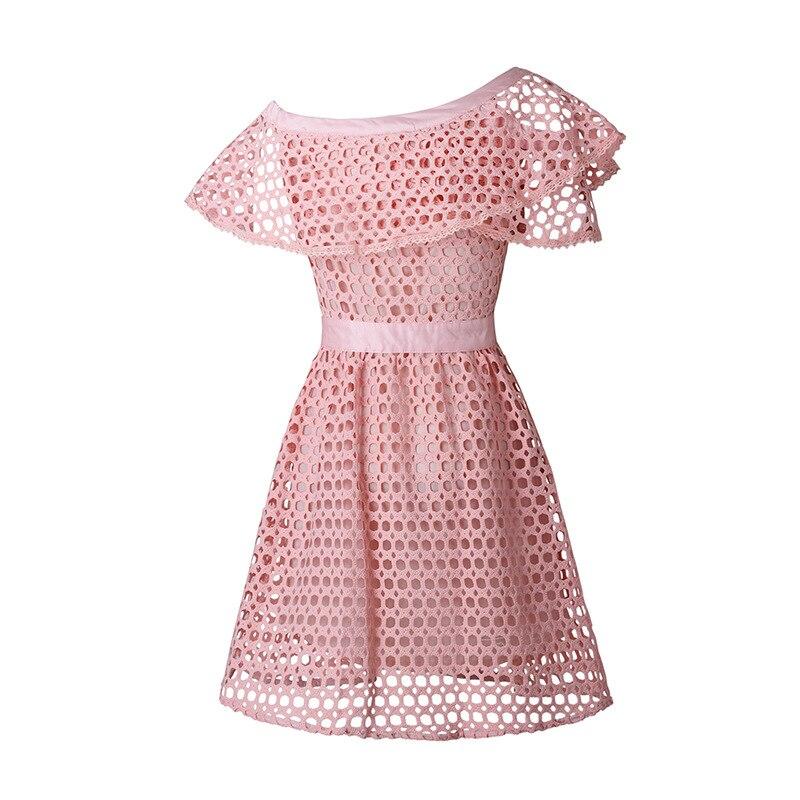 Vestido Sexy de verano con volantes y hombros descubiertos de encaje rosa para mujer 2018 Verano de alta calidad ahueca hacia fuera el vestido de autorretrato - 5