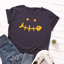 Spring and summer new style fishbone smiley print short sleeve T-Shirt Loose round neck large size short sleeve top цена 2017