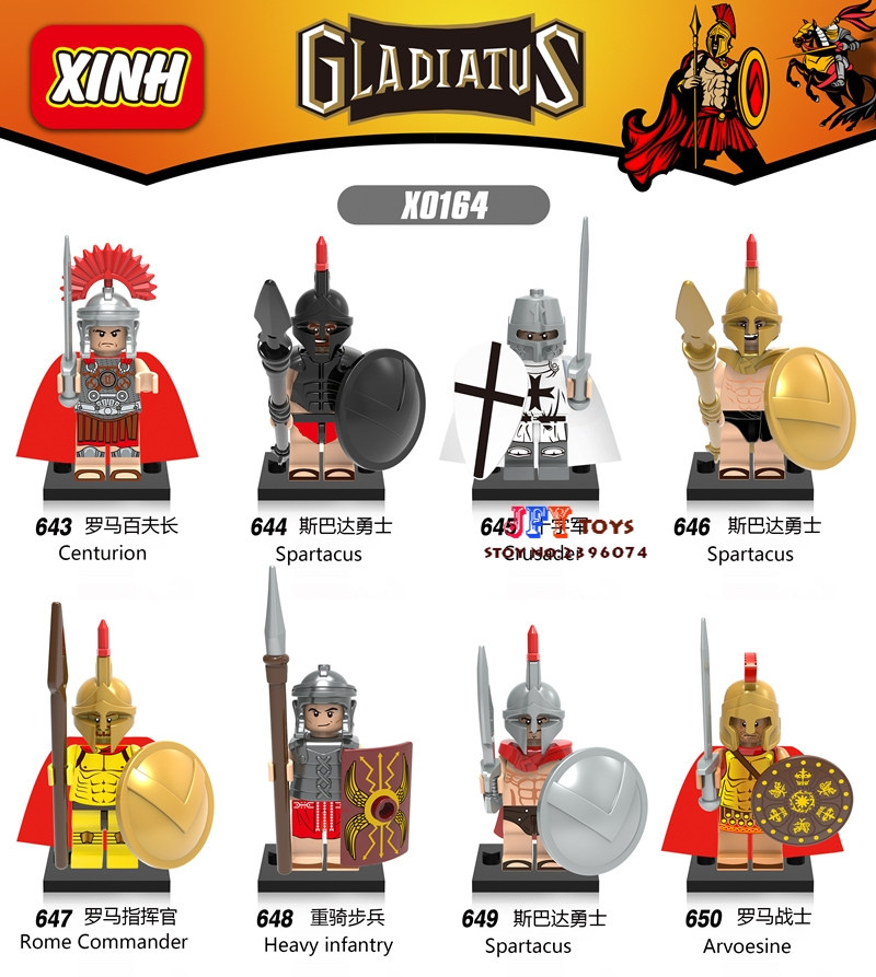 80pcs Rome Commander Medieval Knights Centurion Crusader Spartacus model building blocks bricks toys for children iluminador