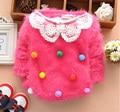 baby girls warm coat kids princess long sleeve winter lace round collar fleece overcoat jacket 4p/l
