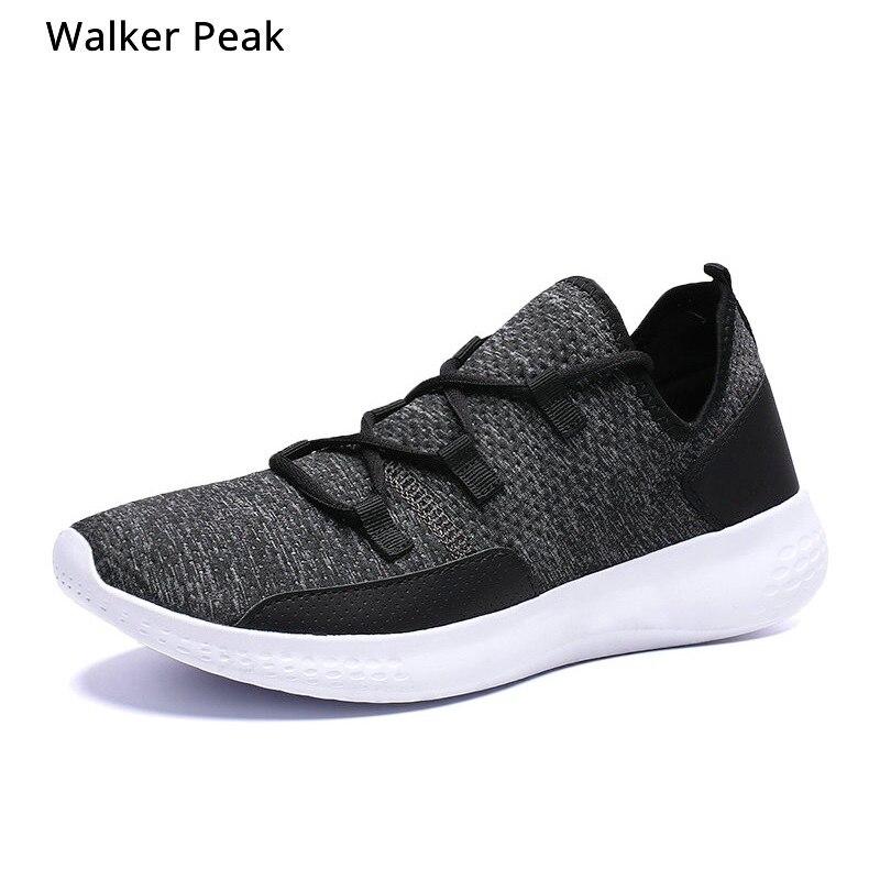 2019 hommes baskets chaussures décontractées respirant homme chaussures Masculino tissé Hombre chaussettes chaussures formateurs pour homme appartements WalkerPeak