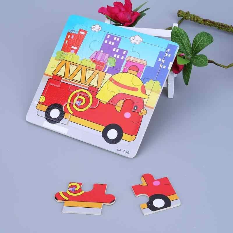 1pc Houten 3D Puzzel Houten Speelgoed Kids 9 Onderdelen Cartoon Dier Educatief Speelgoed Intelligentie Ontwikkeling Houten Puzzels Speelgoed