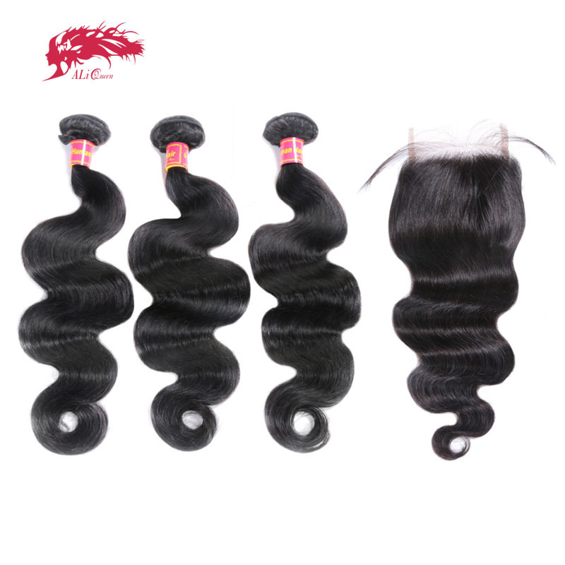 Ali Queen Hair Products 3Pcs Brazilian Body Wave Remy Hair Bundles With Swiss Lace Closure Free Part