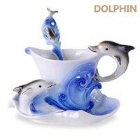 יפה אמייל פורצלן כוס קפה של דולפין להגדיר בסגנון אירופאי צלחות Sets Creative מתנה לחתונה תיבת קצף אריזה
