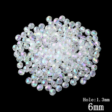 Wholesale 2016 Fashion Transparent Color Acrylic Beads Spacer Ball Beads Fit Jewelry Handmade 200PCs 6mm
