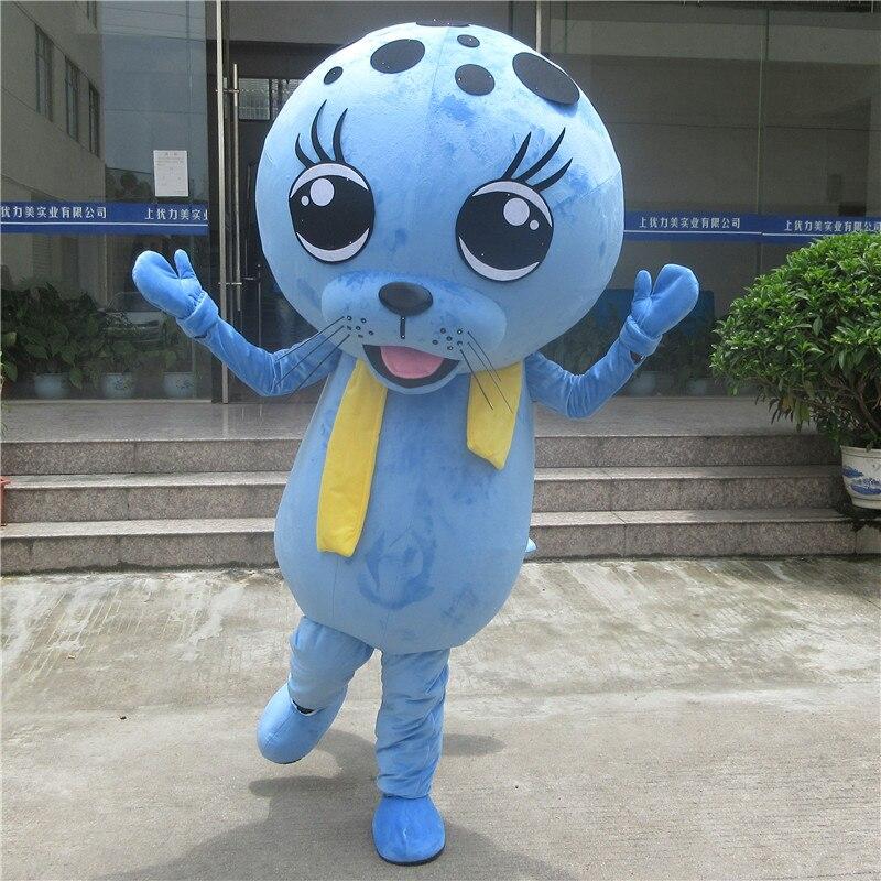 Mascotte phoques bleus Mascotte Lions de mer Mascotte Aquarium Seaquarium adulte personnage de dessin animé thème océan Mascotte déguisements