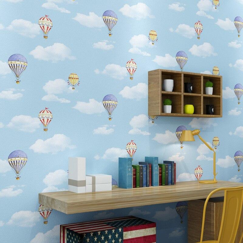 Romantic Cartoon Blue Sky White Clouds Hot Air Balloon Children Room Bedroom Wall Decor PVC Wearable Waterproof Vinyl Wallpaper customize leaves blue sky and white clouds 3d ceiling murals wallpaper living room bedroom