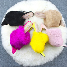 WADNASO New 2019 Sexy Sandals Spring Summer Rabbit Fur Bright High Heel Slippers Womens Shoes Plus Size 35-43 black pink rose