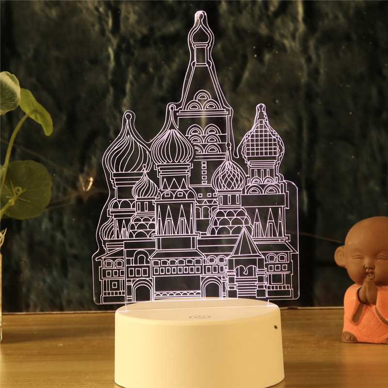 LED 3d Lamp Nightlight Temple Castle Palace 7 Colors Night Lamps For Kids Touch Remote Led Usb Desk Lamps Baby Sleeping Mylamp