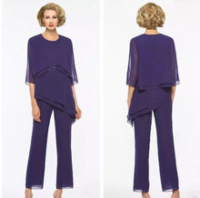 Purple Chiffon Mother Of the Bride Dresses Pant Suits with Jackets Outfit Plus Size