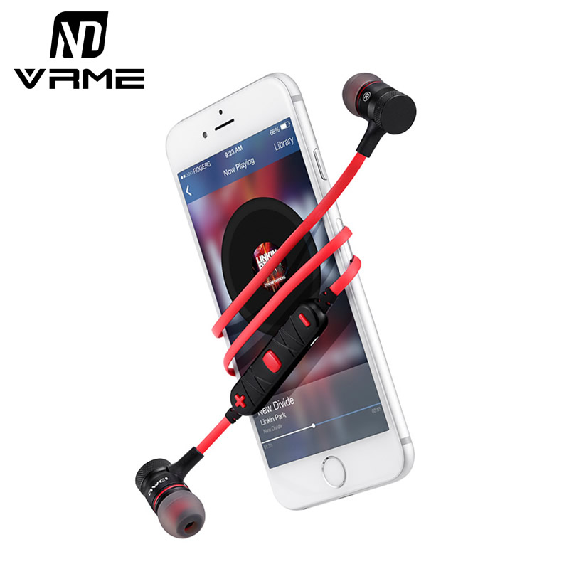 Vrme Bluetooth Headphone Sport Headset Wireless Earphones Metal Headphones with Microphone Stereo Earbuds for Xiaomi Phone 7 6s free shipping wireless bluetooth headset sports headphone earphone stereo earbuds earpiece with microphone for phone