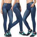 2016New Arrival Women Spring Summer Ninth Legging High Waisted Fake Double-breasted Vintage Solid Imitated Jeans High Elasticity