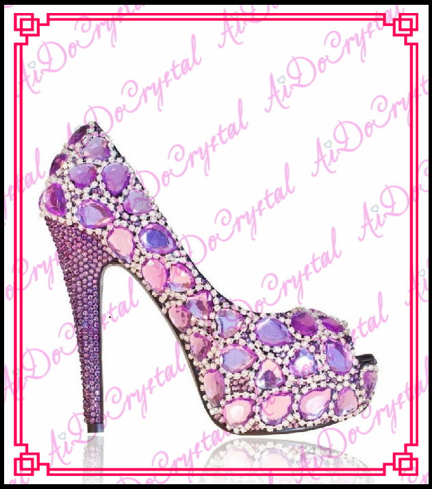 Aidocrystal light purple big diamond peep toe rhinestone glitter wedding font b party b font high
