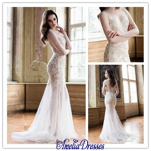online shop aw 474 delicate sexy sheer scoop neckline long sleeves fitted bodice see through lace wedding dresses aliexpress mobile