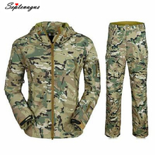 TAD Outdoors Shark Skin Soft Shell Camo Bomber Pilot Jacket Combination Suit Bomber Military Tactical Jacket Men;blouson homme outdoor sports tad shark skin soft shell camo jacket or pants men hiking hunting clothes camouflage tactical military clothing