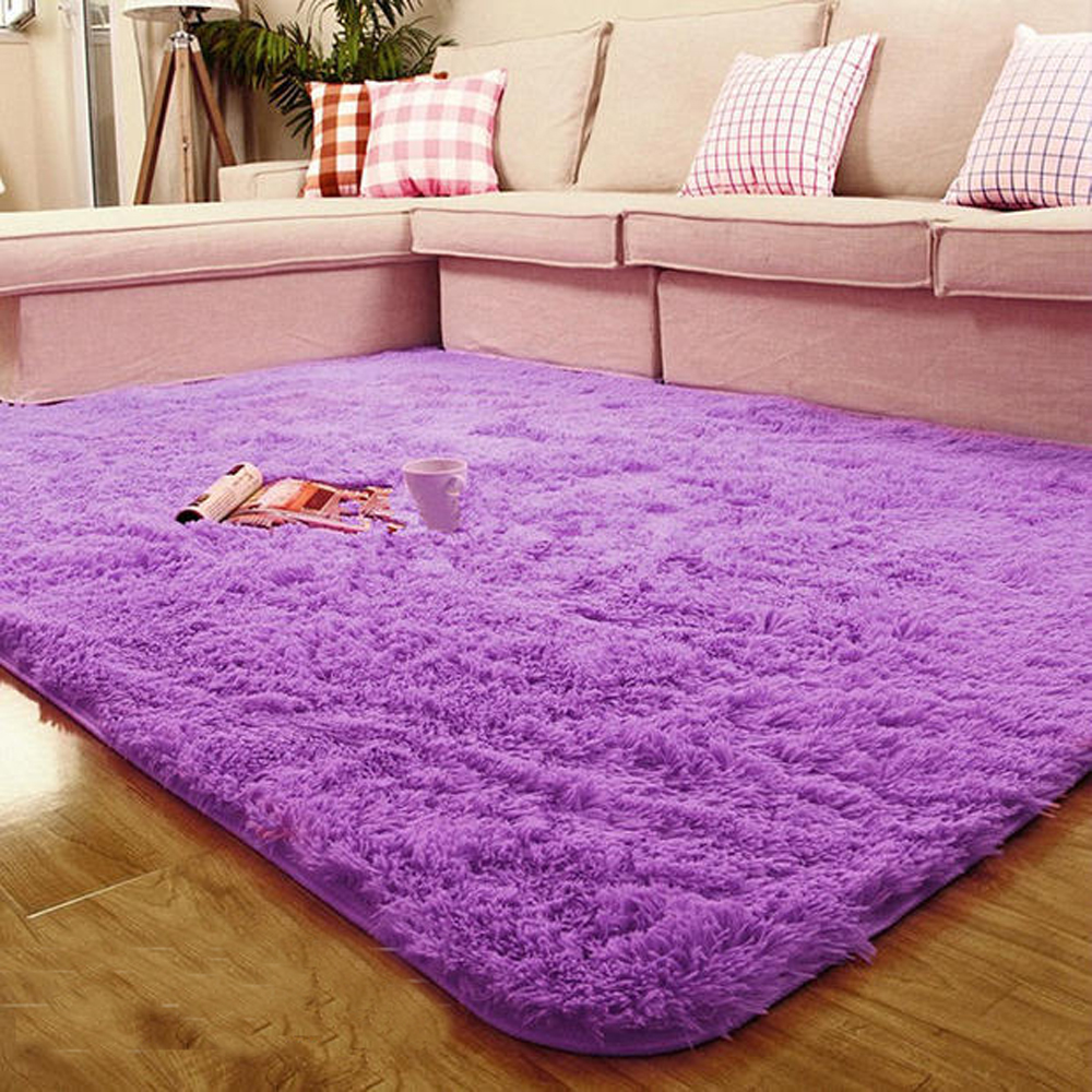 Multi Size/Color Fluffy Plush Fabric Rectangle Living Room