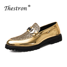 Купить с кэшбэком Thestron Men Shoes Dress Leather Formal Office Wedding Brand Shoes China Footwear 2018 Casual Male Golden Fashion Pointed Toe
