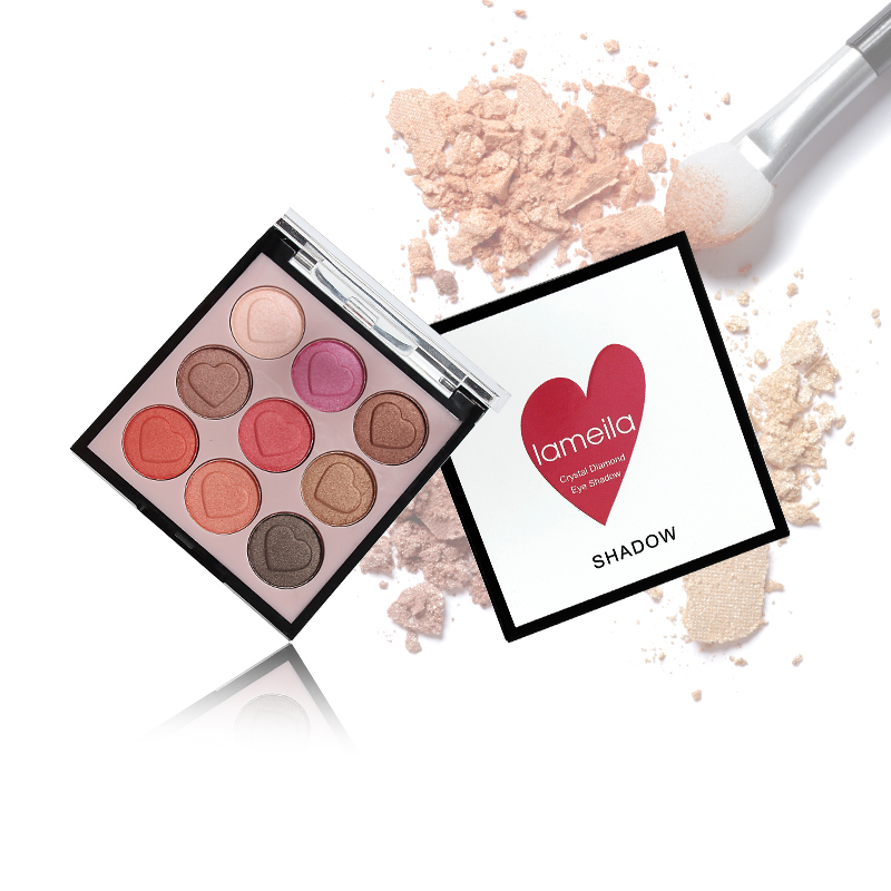 brand naked 9 Colors Intense Crystal Diamond Cream matte Eyeshadow Palette Glitter Heart Shaped Eye Shadow Makeup Smooth Eyes eye shadow