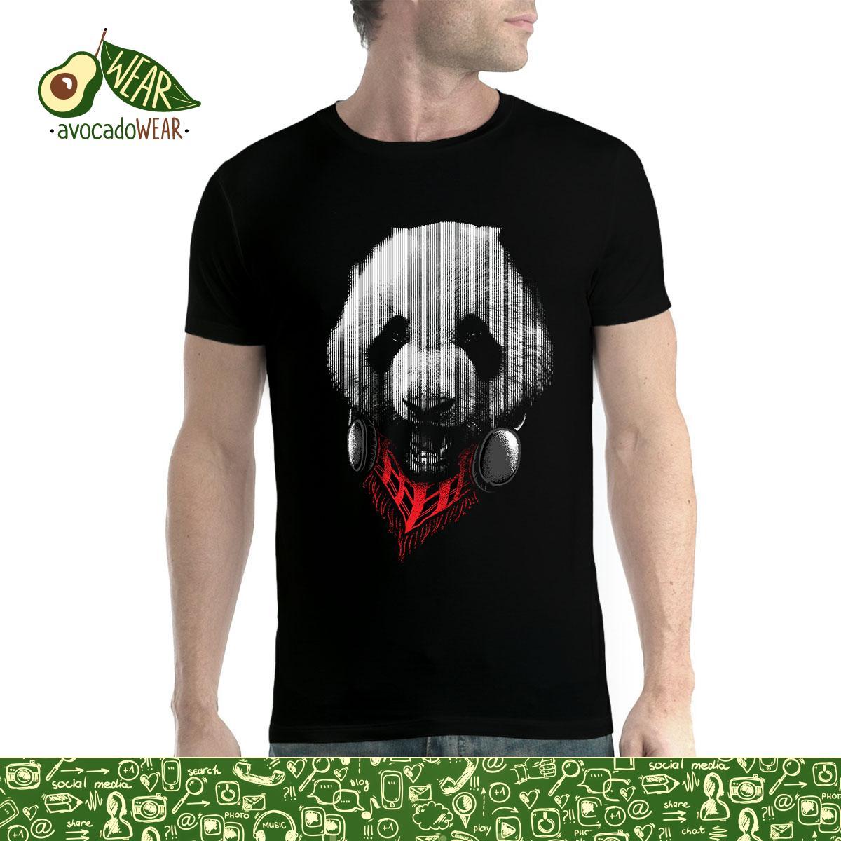 Panda Headphones Mens T shirt XS 5XLStreetwear Funny Print Clothing Hip Tope Mans T Shirt Tops Tees Fashion Classic Black Style in T Shirts from Men 39 s Clothing