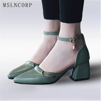Plus Size 34 47 New Women Sandals Summer Pointed Toe Shoes Ladies Shallow Ankle Strap Thick