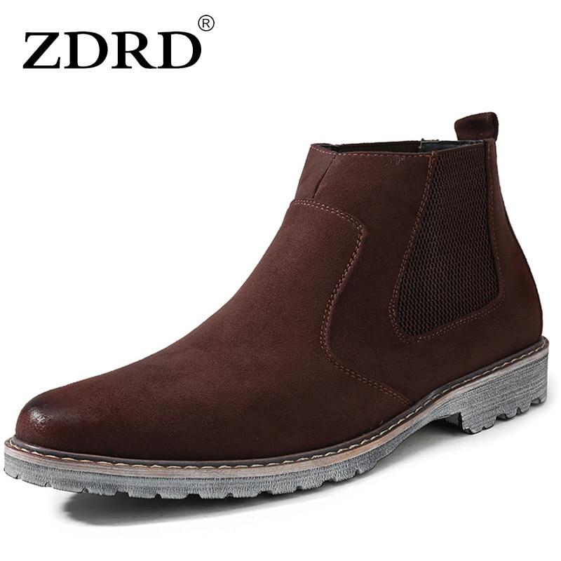 aecf83d98 ZDRD جديد وصول عالية الجودة الرجال تشيلسي الأحذية تنفس عارضة العلامة  التجارية الدافئة الرجال حذاء من الجلد للماء أزياء الرجال الشتاء الأحذية