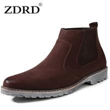 ZDRD Nueva Llegada Hombres de Alta Calidad Botas Chelsea Marca Warm Hombres Ocasionales Respirables Zapatos Botines de Moda Invierno de Los Hombres A Prueba de agua