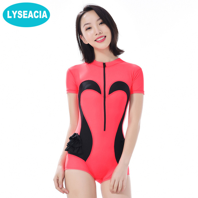 7917a093795c6 LYSEACIA Surfing Women Rash Guards Short Sleeve Swimsuits One Piece Rash  Guard Swan Pattern Swimwear 2018 Women s Swimming Suit
