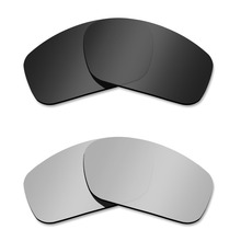 Glintbay 2 Pairs Polarized Sunglasses Replacement Lenses for Oakley Straightlink Stealth Black and Silver Titanium