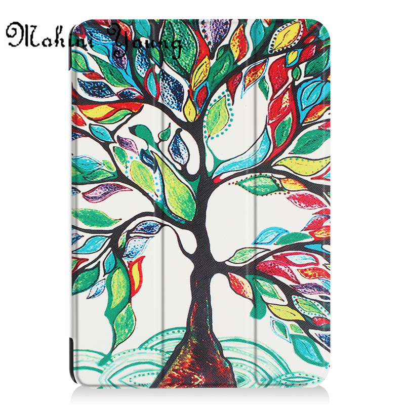 (1pc)top quality Cases For New iPad 9.7 Inch 2017 Slim Smart tablet Case cover print pattern owl tree tower flower girl design