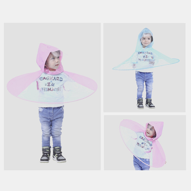 Baby Raincoat Rain Hat Umbrella Cover Cloak Non Handle Rain Cape