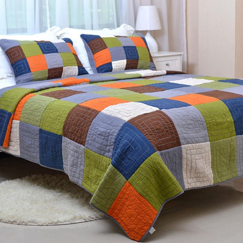 CHAUSUB Patchwork QUILT Set 3PC Edredones hechos a mano Ropa de cama - Textiles para el hogar