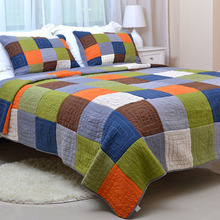 Handmade quilts Patchwork cotton Quilt 3PCS bedding Washed cotton quilted Bedspreads bed cover queen King size coverlet set chausub cotton bedspreads quilt set 3pcs embroidered quilts advanced quilted bed cover pillowcase king queen size coverlet