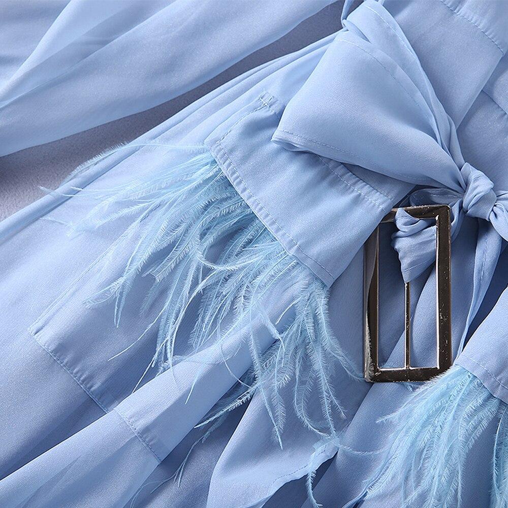 Survêtement Coat Ciel Mode blanc Sexy Trench Long Tranchée De Piste Femmes Organza Plumes Début 2018 Gland Pu Lxmsth Ceinture L'automne Manteau Mince RFwxqUYRf