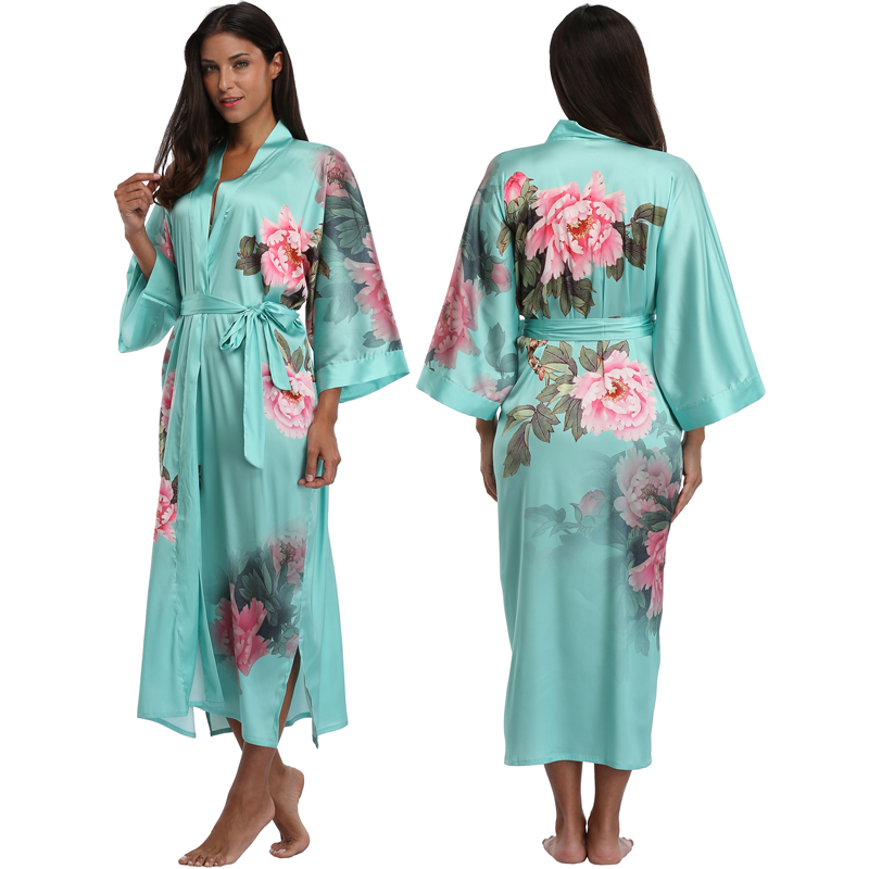 High Quality Silk Satin Kimono Robe Sexy Floral Bridesmaid Bride Wedding Party Robes Women Nightgown Sleepwear