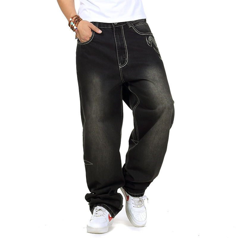 ФОТО Plus Size 30-46 Men's Fashion Exquisite Embroidery Jean Pant, Hip Hop Casual Long Skateboard Pant Big Size 38 42
