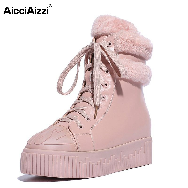 Winter Genuine Leather Women Ankle Boots Warm Thickend Sheep Fur Snow Lady Platform Boots Fashion Lace Up Women Shoes Size 34-39