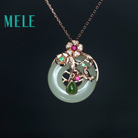0d693018b22c MELE Natural Hetian Jade Round Pendant In 925 Sterling Silver For Women And  Man High Quality
