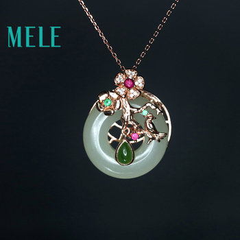 MELE Natural Hetian jade round pendant in 925 sterling silver for women and man,high quality jasper delicate and beautiful